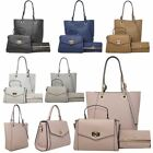 Women's New Faux Leather Casual Tote Shoulder Bag Evening Purse Set