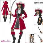 Deluxe Authentic Lady Pirate Captain Costume Wig Hat Tights Womens Fancy Dress