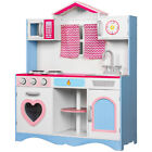 Kids Wooden Toy Kitchen Children Cooking Role Play Pretend Set Gift Learning