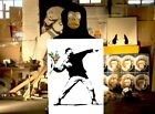 BANKSY - FLOWER THROWER - Highest Quality Archival Heavyweight Print -In A3