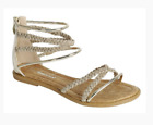 New Kids Gladiator Sandals  Flat Sandals gold on sale size 9 to 4
