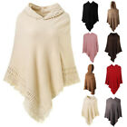 Women Tassel Knit Woolen Cloak Hooded Warm Sweater Poncho Cape Overcoat Outwear