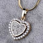 18K Gold Filled Women Love Heart Sapphire Crystal Pendant Chain Necklace Jewelry image
