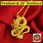"""24k Yellow Gold Authentic Dragon Pendant - Link 20"""" 24"""" 30"""" Chain Necklace D559N"""