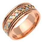 Mens Womens Solid 18K Tri-color Handmade Comfort Fit Wedding Band 7MM size 5-13
