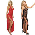 128CM Black Red Lace Up Lingerie Night Gown Sleepwear Pajamas Plus S~6XL