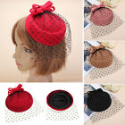 Women Bowknot Fascinator Hairclip Beret Hair Pillbox Hat Veil Cocktail Party US