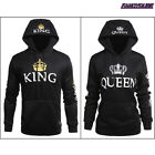 Lovers Couple Matching King Queen Hoodie Jumper Sweater Tops Sweatshirts lot