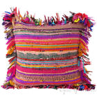 """24"""" Large Pink Chindi Rag Rug Decorative Pillow Cushion Cover Throw Sofa Couch B"""