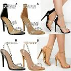 Womens Ladies Barely There Sandals High Heels Strappy Perspex Diamante New Size