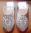 MOROCCAN * SILVER LEATHER SEQUINED SLIPPERS ALL SIZES