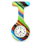 Colorful Patterned Silicone Nurse Brooch Tunic Fob Pocket Watch Stainless Dial