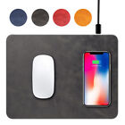 Luxury Multi-functional QI Wireless Charger Leather Fast Charging Mouse Pad Mat