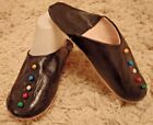 MOROCCAN * SOFT LEATHER  SLIPPERS ~ BLACK ~ ALL SIZES