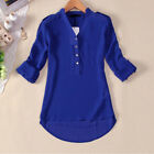Fashion Summer Women Casual Chiffon Long Sleeve Shirt Loose Tops Blouse US STOCK