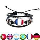 2018 World Cup Handmade Bracelet Country Flag Leather Rope Beaded Wristband USA