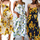 US Women Floral Boho Maxi Dress Beach Party Sleeveless Sundress Summer Dress