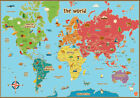 Childrens World Map Poster A1 A2 A3 A4 Educational Learning School Countries ALT