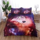 Galaxy Wolf Printed Duvet Cover Set 3D Outer Space Bedding Set