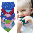Colorful Baby Triangle Saliva Towel Bandana Bibs With Chewable Silicone Teether