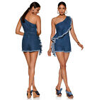 Women Sexy Jumpsuits Rompers shorts one-shoulder shorts stretch denim  SMR8877