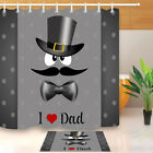 mustache shower curtain - Mustache Hat Bow Tie Father's Day Shower Curtain Liner Bathroom Polyester Fabric