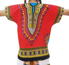 Childs African Dashiki Shirt Pockets In Red sz M