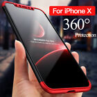 360° Full Body Protective Hard Case Cover+Tempered Glass For IPhone XS MAX XR X+