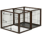 Convertible Secure Pet Crate Double Enclosed Space Playpen Indoor Dog Cat Cage