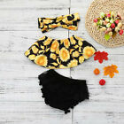 Infant Baby Girls Sunflower Off Shoulder Tops + Lace Ruffles Shorts Set Clothes