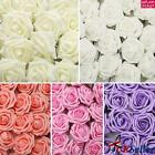 50/100 Artificial Flowers Foam Roses With Stem Wedding Bride Bouquet Party Decor