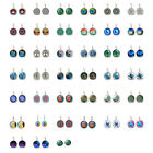1 Pair Women's Fashion Glass Cabochon (18mm) Lever Back Silver Earrings Jewelry