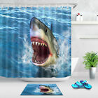 Waterproof Ferocious Great White Shark Shower Curtain Bathroom Decor Mat Hooks