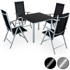 Aluminum Chair Table Set 4 Seater Garden Furniture Outdoor Recliner Glass Deuba