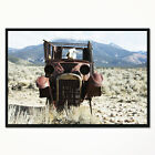 'Retro Car in Mountainous Area' Framed Photographic Print on Wrapped Canvas
