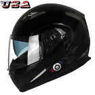 Bluetooth Motorcycle Helmet Integrated Modular Flip Up Dual Speaker Visors FM US