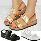 Womens Ladies Flatform Studded Wedge Sandals Ankle Strap Rose Gold Summer Shoes