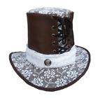 Vance Leather Steampunk Leather and Lace Top Hat