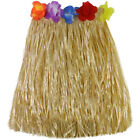 Hawaiian Hula Grass Skirt Fancy Dress Adult Costume With Flower Long T FJ
