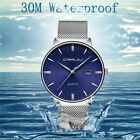 30 Metres/3  Unisex Fashion Ultrathin Quartz Wristwatch Steel Business Watch