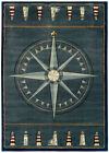 Blue Nautical Carpet Nautical Compass Lighthouse Nautical Rope Olefin Area Rug