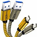 (2 Pack) USB Nylon Braided Cord Cable Charger for Motorola (Moto) (Silver+Gold)