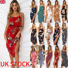UK Womens Holiday Strappy Midi Dress Chiffon Summer Beach Side Split Sun Dresses