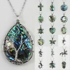 Natural Paua Abalone Shell Bead Flower Tree of Life Silver Pendant Necklace