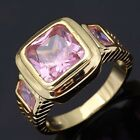 Beautiful Size 8-12 Pink Sapphire Gold Filled Man Woomen Engagement Rings Gift