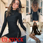 Sexy Women Long Sleeves Bandage Bodycon Evening Party Cocktail Club Mini Dress