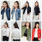 Women Casual Denim Jeans Slim Jackets Long Sleeve Vintage Coat Fashion Outwear