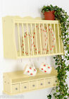 (P&S) Kitchen Plate Rack Wall Mounted Wooden  and Spice drawers/shelf BUTTERMILK