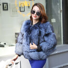 2018 Luxury Womens Real Silver Fox Fur Coat Winter Warm Whole Fur Jacket Outwear