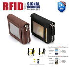 RFID Blocking Leather Wallet Credit Card Holder Zipper Pocket Thin Unisex US image